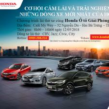 Chương Trình Lái Thử Xe Honda Ô Tô Tháng 5 Nhận Quà Tặng Khuyến Mại Lớn