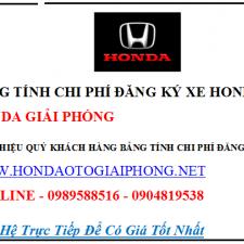 Bảng Tính Chi Phí Đăng Ký Xe Honda CRV 2017 Tại Hà Nội Và Các Tỉnh